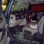 Stanley Cup 2011 Vancouver - Zerstörter Fahrzeuginnenraum